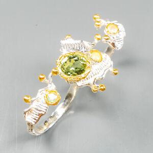 Handmade-Natural-Peridot-925-Sterling-Silver-Ring-Size-8-R123137