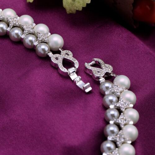 Collier Deux Rang Perle Blanc Gris Cristal Baroque Vintage Original Mariage QT 1