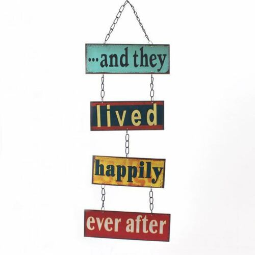 AND THEY LIVED HAPPILY Retro Metal Wall Sign Decor Vintage Art Plaque Hanging