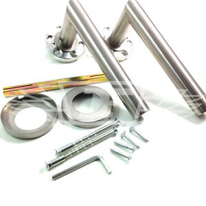 SATIN STAINLESS STEEL DOOR HANDLES (PAIR) 19mm STRAIGHT LEVER, SPINDLE & FIXINGS