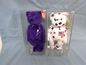 1997 Ty Beanie-Baby Princess-Diana-Bear & American Patriotic Bear