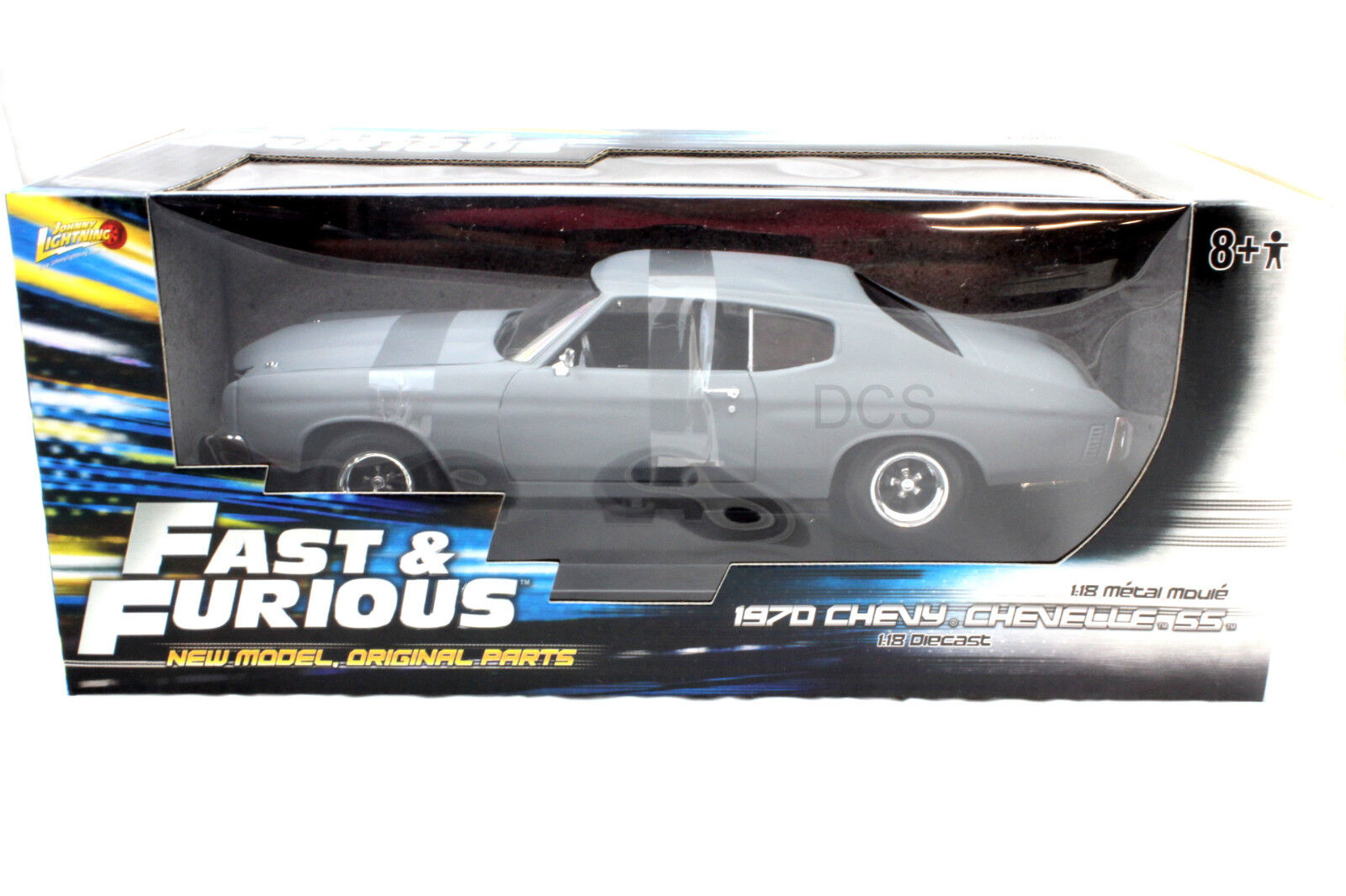 Johnny Lightning '70 Chevy Chevelle Fast & Furious gris Mate 1 18 Coche de Metal