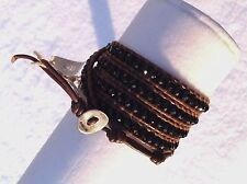 AUTHENTIC CHAN LUU BLACK ONYX Faceted BEADS BROWN  LEATHER 5X Wrap Bracelet CL6B