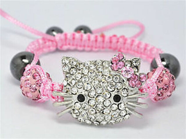 Beautiful Children Jewellery Kids Shamballa Bracelet 10MM Crystal Beads