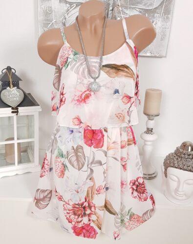 ITALY CHIFFON KLEID BLUMEN SOMMERKLEID SOMMER VOLANT Weiß Pink Floral NEU 34 36