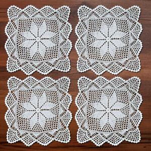 4Pcs-Lot-White-Vintage-Hand-Crochet-Cotton-Lace-Doilies-Square-Table-Mats-30cm