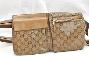 59fe50f64 Image is loading Authentic-GUCCI-Waist-Bum-Bag-Nylon-Gold-65605