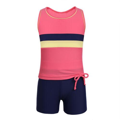US Girls Tankini Swimwear Swimsuits Crop Tops+Bottoms Bikini Bathing Beachwear