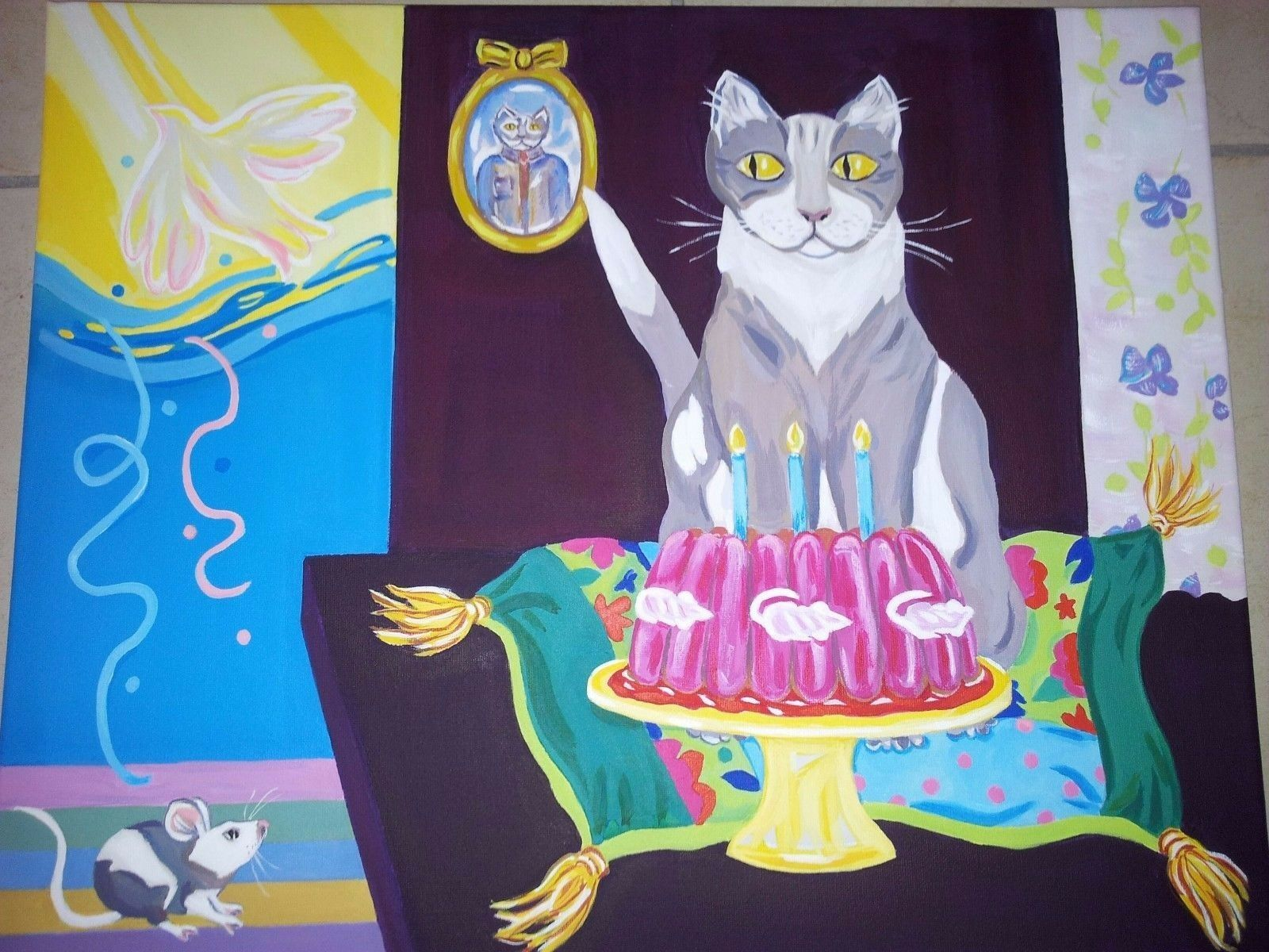 Table by nadine cuzin,  the anniversary of cat , acrylic. diPour des hommesions 40x50