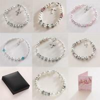 Sterling Silver Name Bracelet With Cross Charm. Girls Christening Jewellery Gift