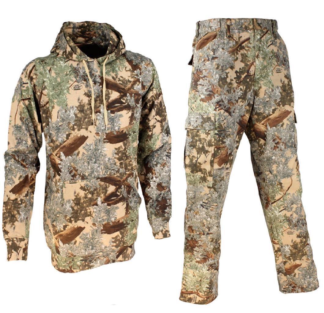 2 PC Camo Pantalones & Sudadera con capucha clásica de los Reyes Paquete Desierto sombra para hombre lote de caza