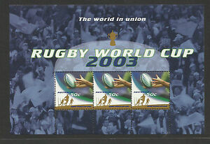 AUSTRALIA-2003-RUGBY-WORLD-CUP-50c-Booklet-Sheet-MNH