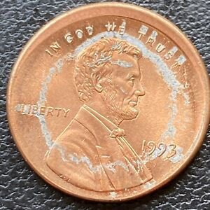 1993 Lincoln Cent 1c MAJOR BROADSTRUCK + OFF CENTER ERROR ...