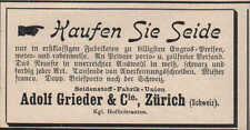 ZÜRICH, Werbung / Anzeige 1899, Adolf Grieder & Cie. Seidenstoffe