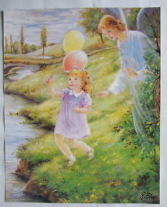 Catholic-Print-Picture-GUARDIAN-ANGEL-with-GIRL-Religious-Christian-11x14-034