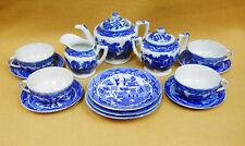 Vintage Blue Willow Transferware Childs Toy Dishes Complete TeaSet Service for 4
