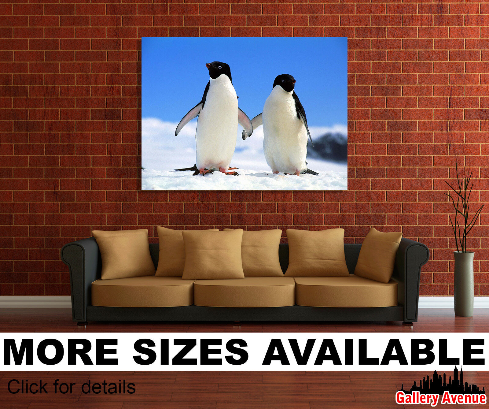 Wand Kunst Canvas Bild Drucken - Penguins Couple North Winter 3.2