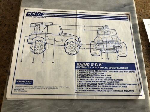 GI JOE 4X4 JEEP RHINO GPV ACTION MAN HALL OF FAME HOF INSTRUCTIONS BLUEPRINTS