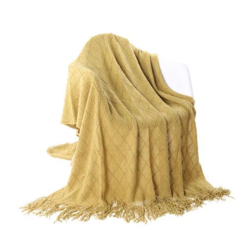 Sofa Throw Blanket Fringed Blanket Solid Color Knit Blanket for Bed Home Blanket