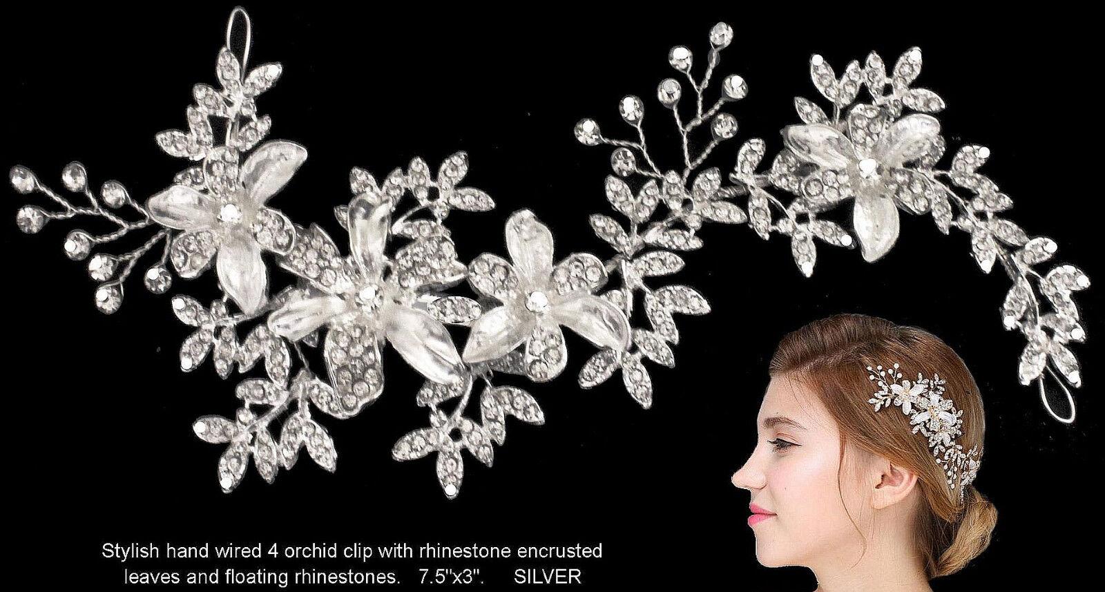 Silver Rhinestone Floral Leaf Bridal Wedding Fascinator Headpiece Hair Clip