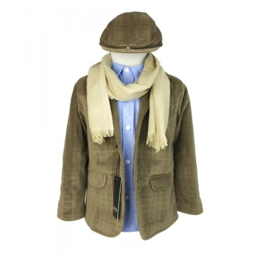 Kids Super Soft Suede like Checked Jacket 6 Piece Camel Brown Lightweight Outfit