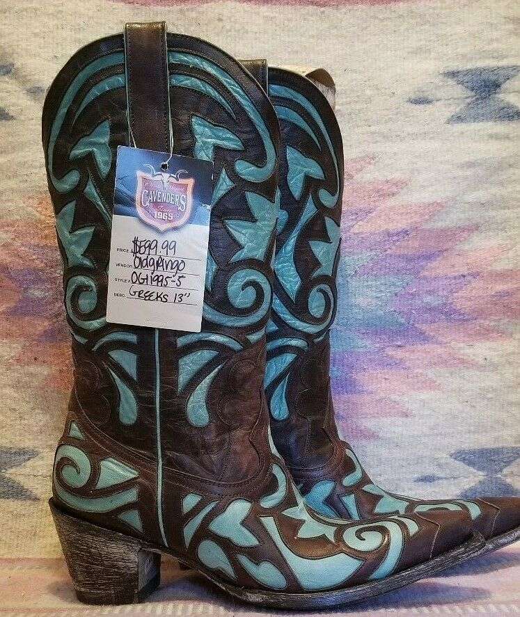 Old Gringo Greeks Womens Boot Chocolate & Turquoise Aqua 8.5 ( 599.99) Sold Out