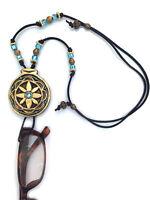 Handmade Eyeglasses Holder Adjustable Necklace Gold & Light Blue Flower