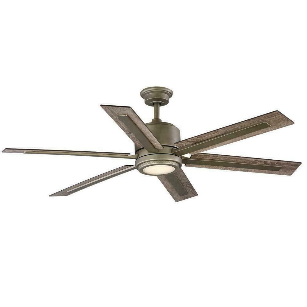 HDC Palermo Grove 60  Int. LED Indoor Ant. Nickel 2-Mount Ceiling Fan w Light&Re
