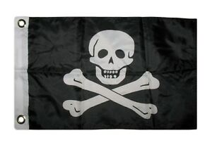 """12x18 12/""""x18/"""" Key West Jolly Roger Pirate SuperPoly Boat Flag"""
