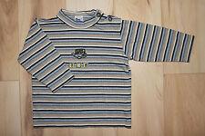 Süßes gestreiftes DingDong Langarm-Shirt Gr. 74, Flugzeug-Stickerei, Jungen