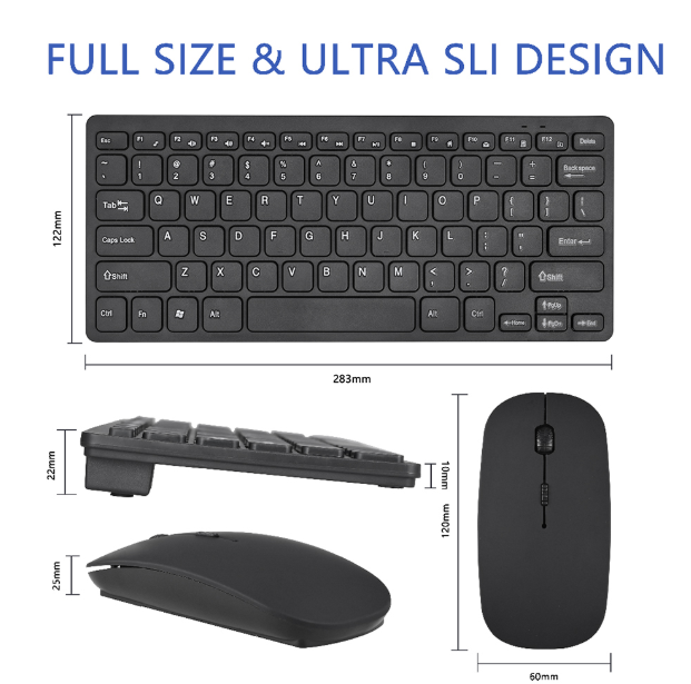 Black Wireless Mini Ultra Slim Keyboard and Mouse For Easy Smart TV Contol for Samsung UE32EH4000WXXH Smart TV