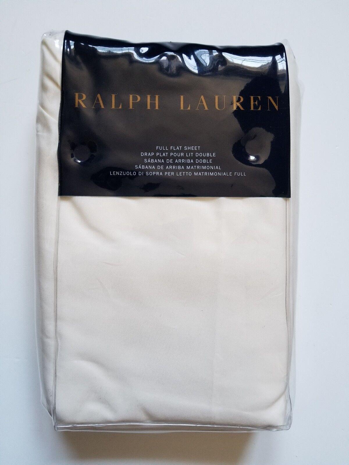 RALPH LAUREN RL-464 SOLID PERCALE VINTAGE CREAM ONE FULL FLAT SHEET