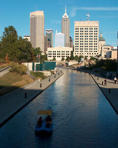 indianapolis indiana skyline view of canal 8x10 fine art print