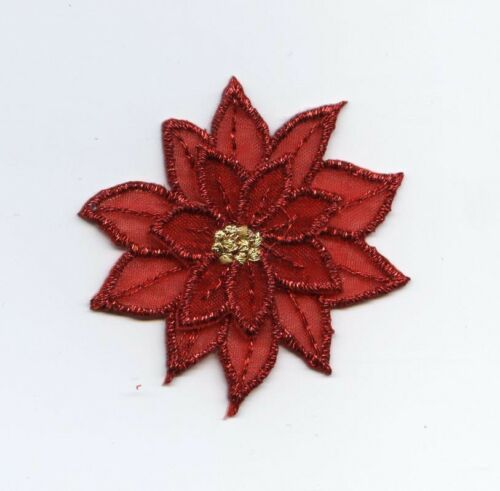 Iron on Applique//Embroidered Patch Red Small Poinsettia Christmas Flower