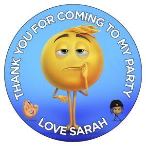Image Is Loading Personalised Emoji Movie Stickers Gene Meh Birthday Party