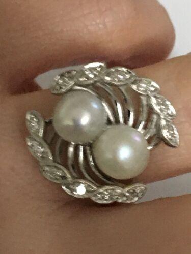 Vintage pearl and diamond Ring, Pearl and Diamond… - image 1