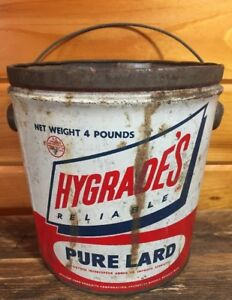 Vintage-4-Lbs-Hygrade-039-s-Reliable-Pure-Lard-Rustic-Tin-Can-Bucket-Rare-NO-LID