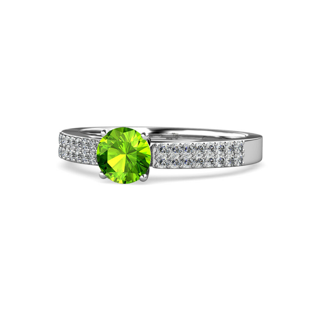 Peridot & Diamond Solitaire Plus Engagement Ring 1.42 Carat tw 14K gold JP 58106