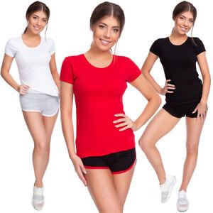 Damen-Basic-Zweifarbig-Sommer-Set-T-Shirt-Shorts-Freizeit-Sport-Fitness-FZ137