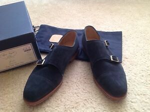 6775af6798d86 New Alfred Sargent for J.Crew suede double monk strap shoes Navy ...