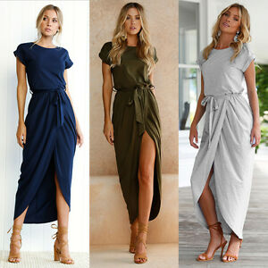 UK-Womens-Belted-Split-Holiday-Maxi-Casual-Ladies-Beach-Party-Long-Skirts-Dress