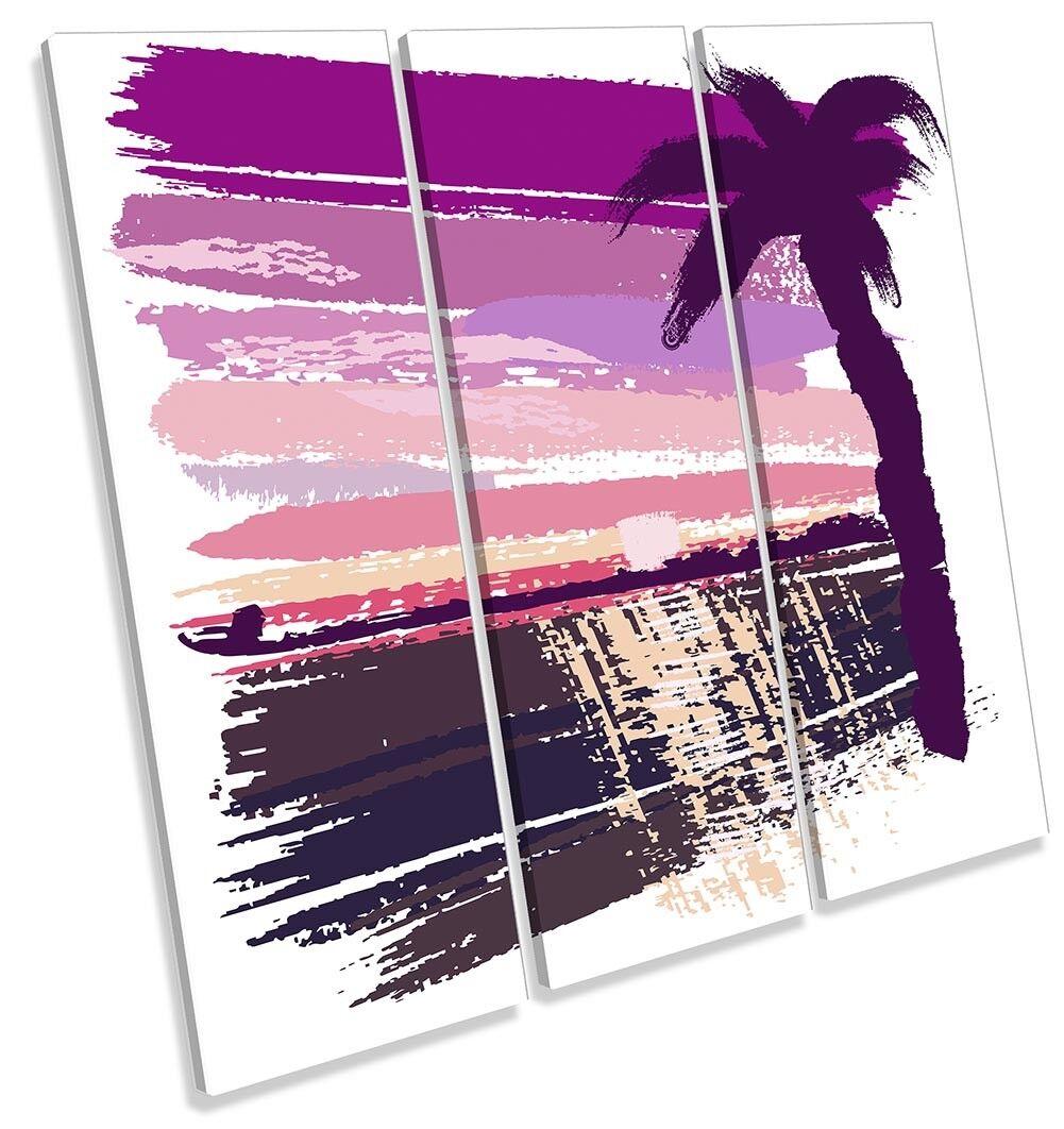 rosa Palma Spiaggia TREBLE TELA parete opera d'arte d'arte d'arte art print 50bc78