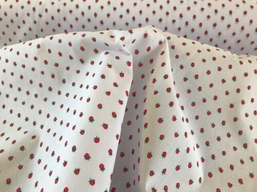 tiny strawberry fabric material polycotton cotton craft dress jam strawberries