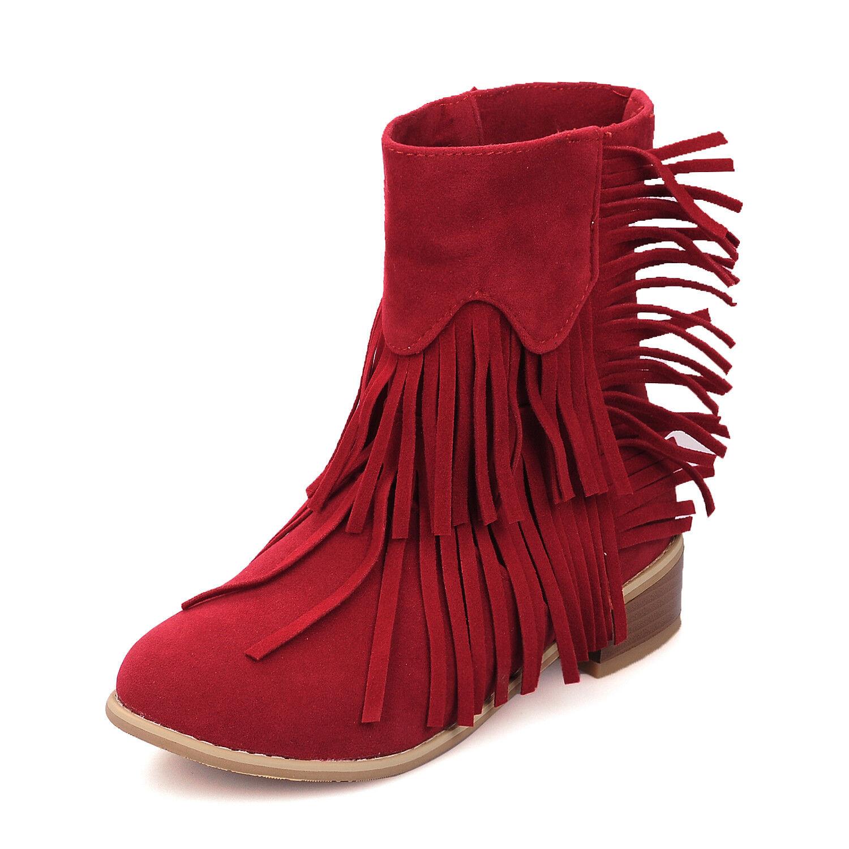Damenschuhe Stiefel Stiefelletten mit Franse 33-44 Blockabsatz einfach Größe 33-44 Franse afc765