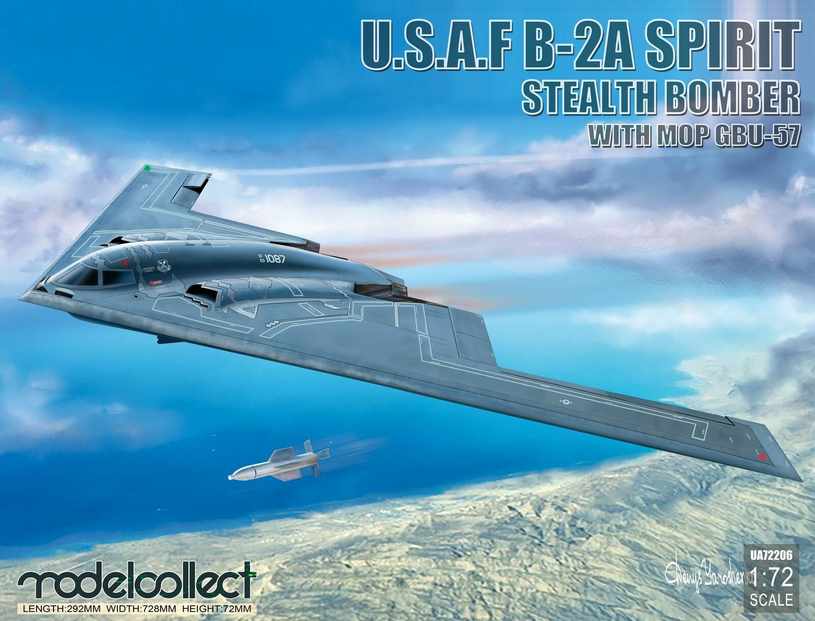 Model Collect 1 72 Northrop U.S.A.F B-2A Spirit Stealth Bomber with Mop GBU-57