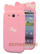 for Samsung galaxy s3 soft back case pink w/ white 3D bow / cute hello kitty