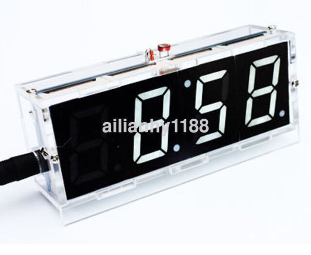 US Electronic 4-digit DIY Digital LED Clock Kit Light Control Temperature Hot