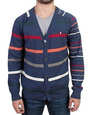 NEW $400 GALLIANO Sweater Blue Multicolor Striped Wool Button Down Cardigan s. L