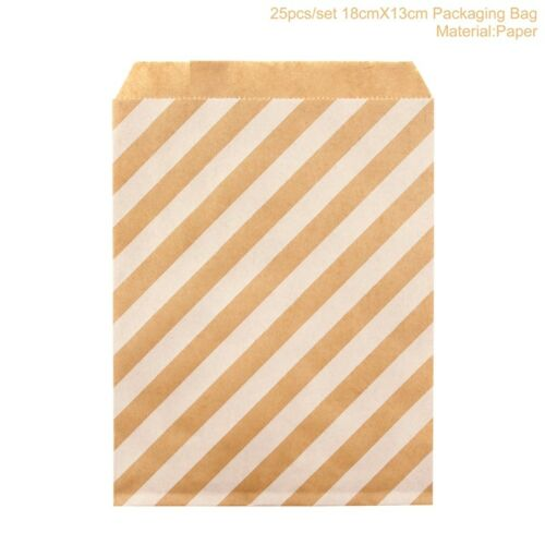 25Pcs Kraft Paper Candy Buffet Gold Glitter Stripe Bags Wedding Party Favor