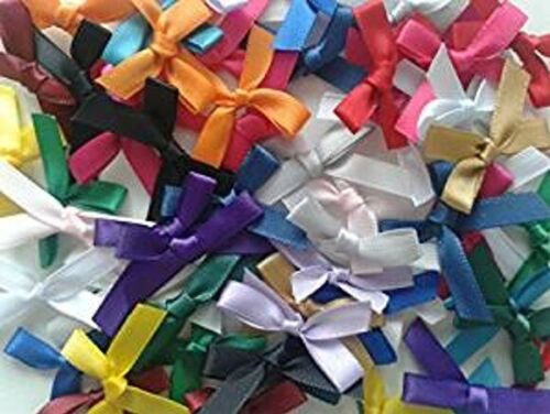 7mm Mixed Colour Satin Mini Ribbon Bows in Packs 10 or 100 Craft Gift Decoration